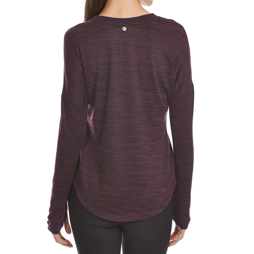YOGALICIOUS Women's High-Low Long-Sleeve Pullover - HEATHER MERLOT