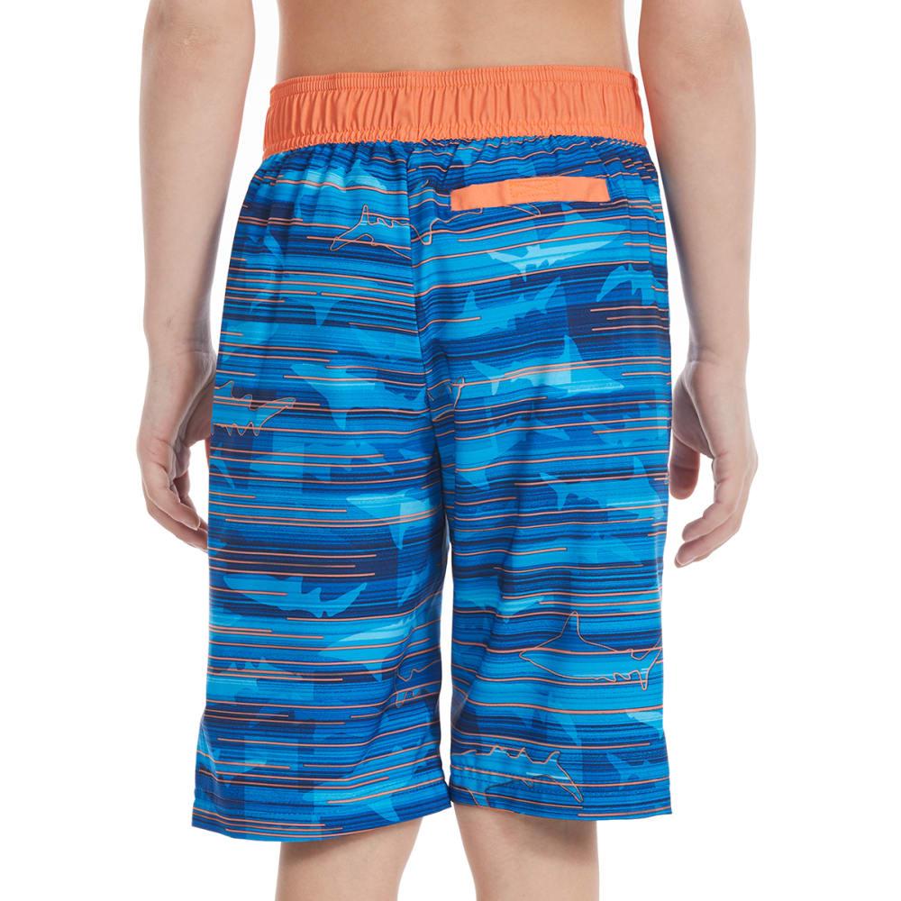 FREE COUNTRY Little Boys' Shark Beam HydroFLX Boardshorts - ROYAL SEA/SUNSET ORA
