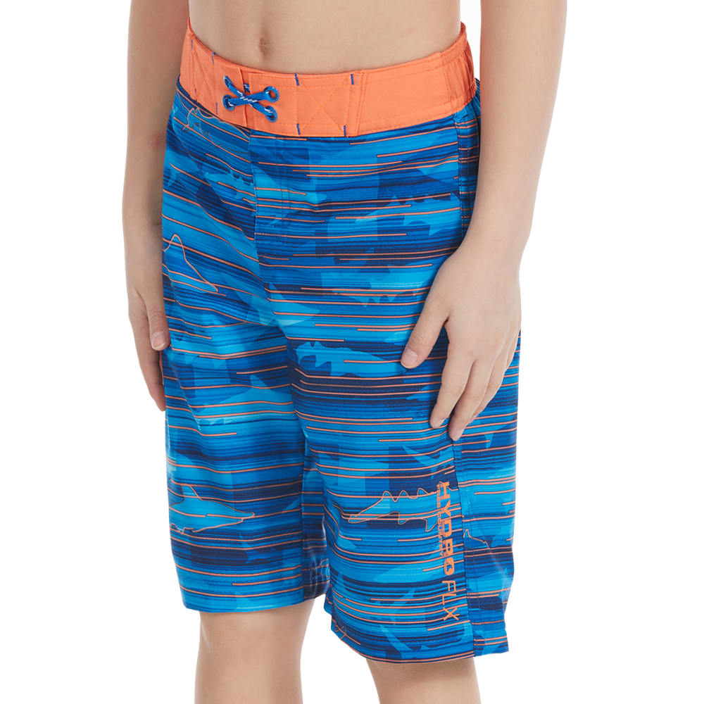 FREE COUNTRY Little Boys' Shark Beam HydroFLX Boardshorts - ROYAL SEA/SUNSET ORA