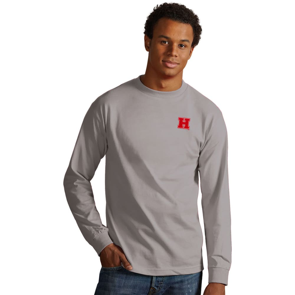 HARVARD Men's Long-Sleeve Crew Tee - GREY