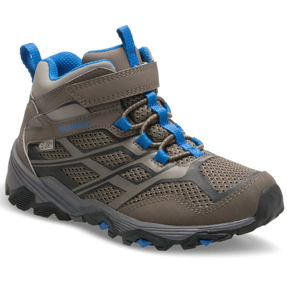 MERRELL Little Kids' Moab Mid Waterproof Hiking Boots - GUNSMOKE
