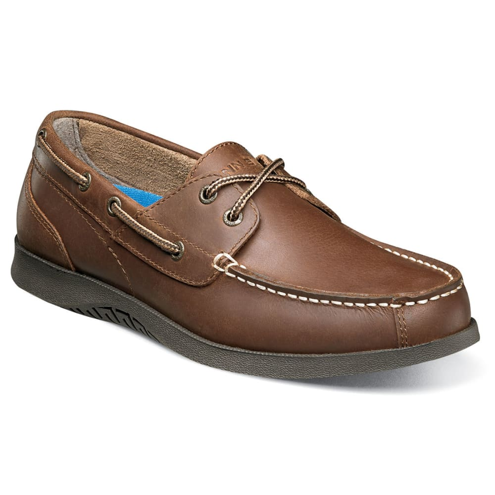 NUNN BUSH Men's Bayside Lites Moc Toe Boat Shoes - DARK BROWN-201