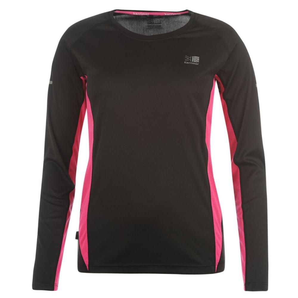 KARRIMOR Women's Running Long-Sleeve Tee - BLACK/PINK