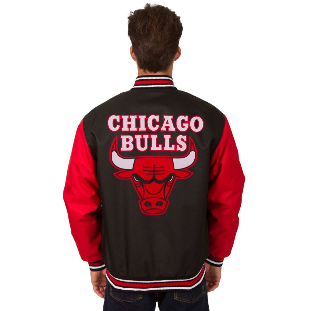 CHICAGO BULLS Men's Poly Twill Logo Jacket - BLACK-RED