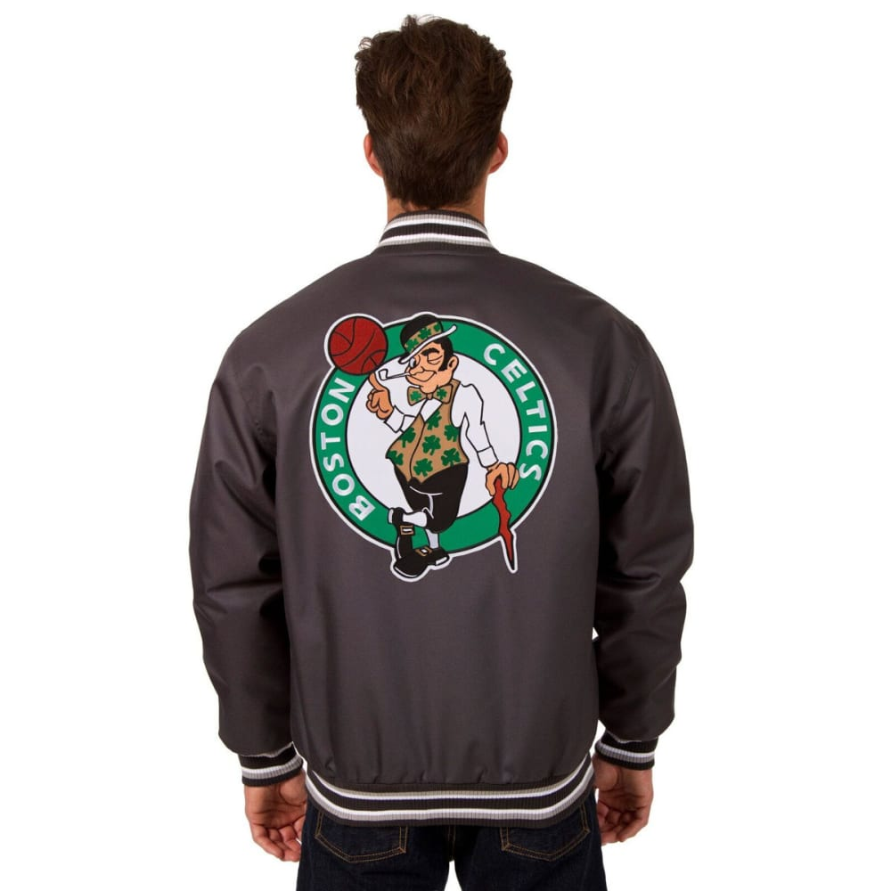 BOSTON CELTICS Men's Poly Twill Logo Jacket - CHARCOAL