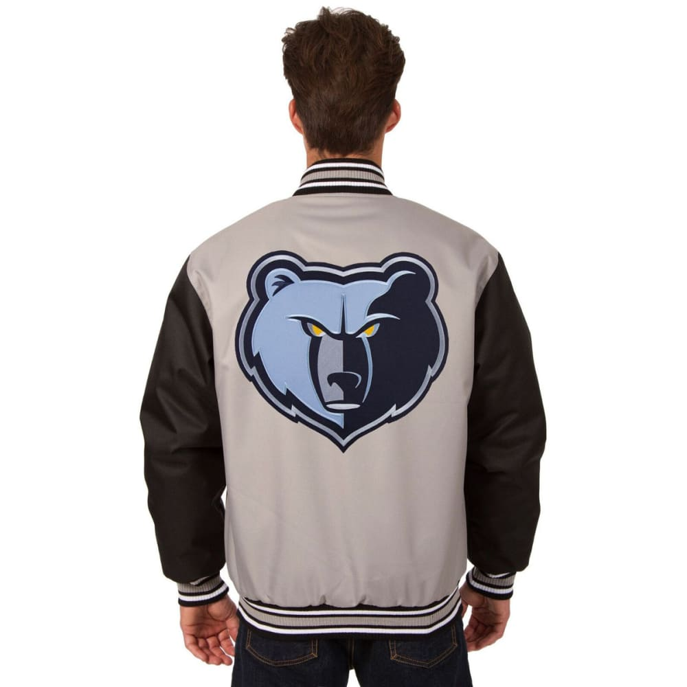 MEMPHIS GRIZZLIES Men's Poly Twill Logo Jacket - GRAY-BLACK