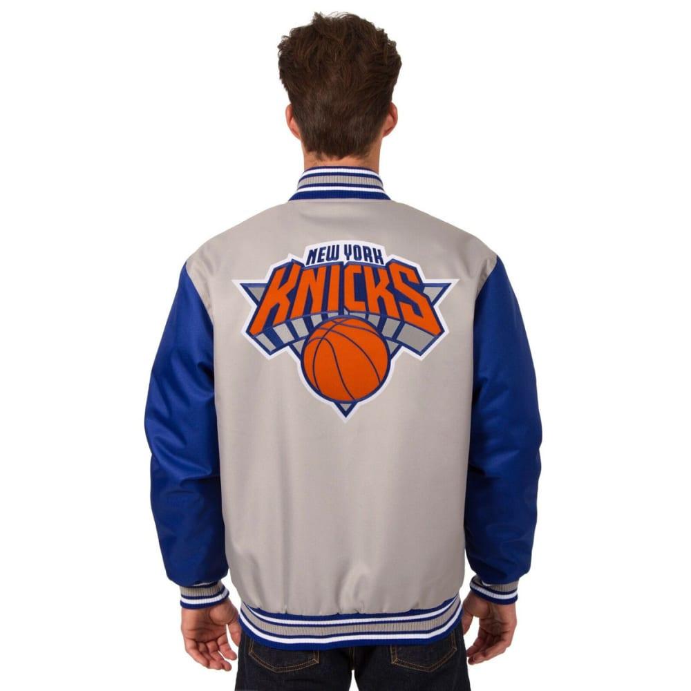 NEW YORK KNICKS Men's Poly Twill Logo Jacket - GRAY-ROYAL