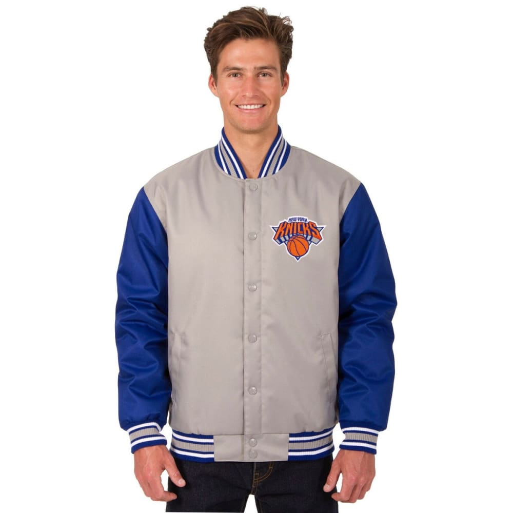 NEW YORK KNICKS Men's Poly Twill Logo Jacket - GRAY-ROYAL