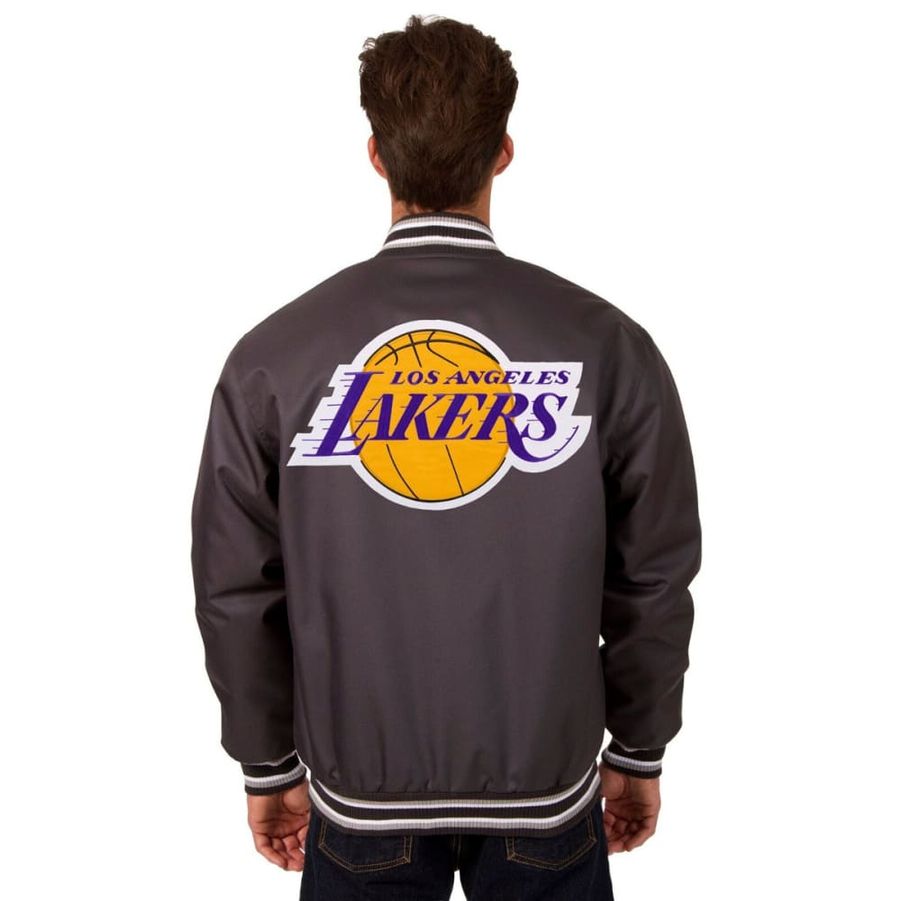 LOS ANGELES LAKERS Men's Poly Twill Logo Jacket - CHARCOAL