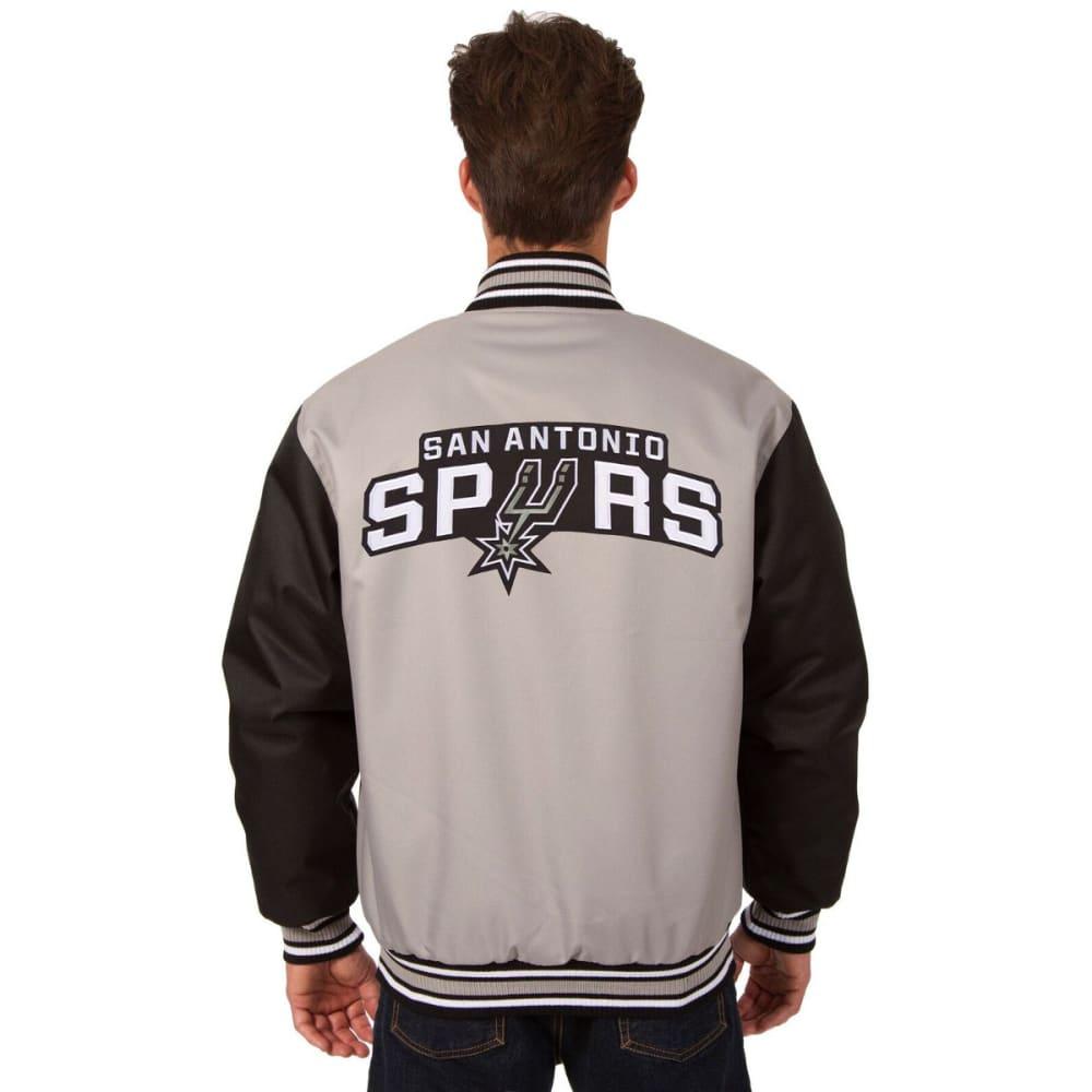 SAN ANTONIO SPURS Men's Poly Twill Logo Jacket - GRAY-BLACK