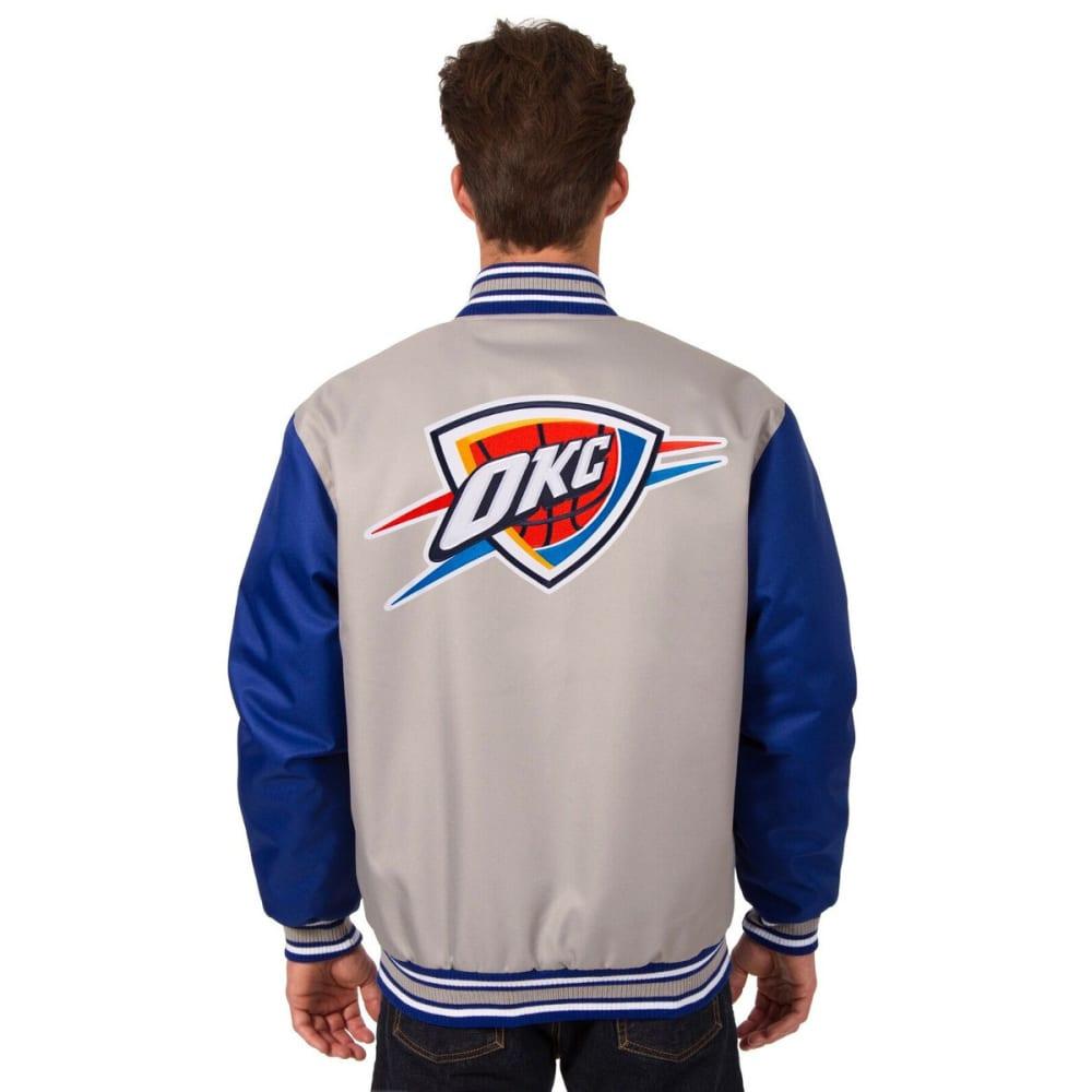 OKLAHOMA CITY THUNDER Men's Poly Twill Logo Jacket - GRAY-ROYAL