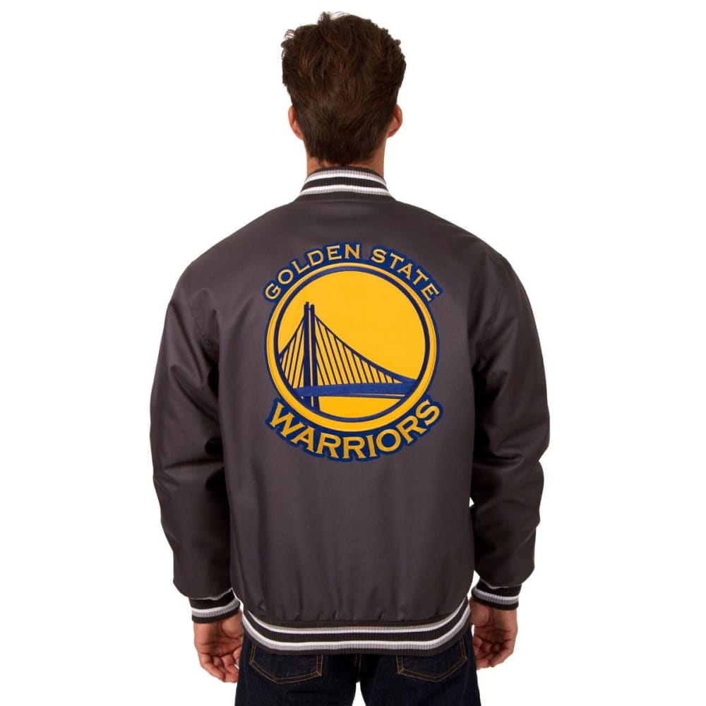 GOLDEN STATE WARRIORS Men's Poly Twill Logo Jacket - CHARCOAL