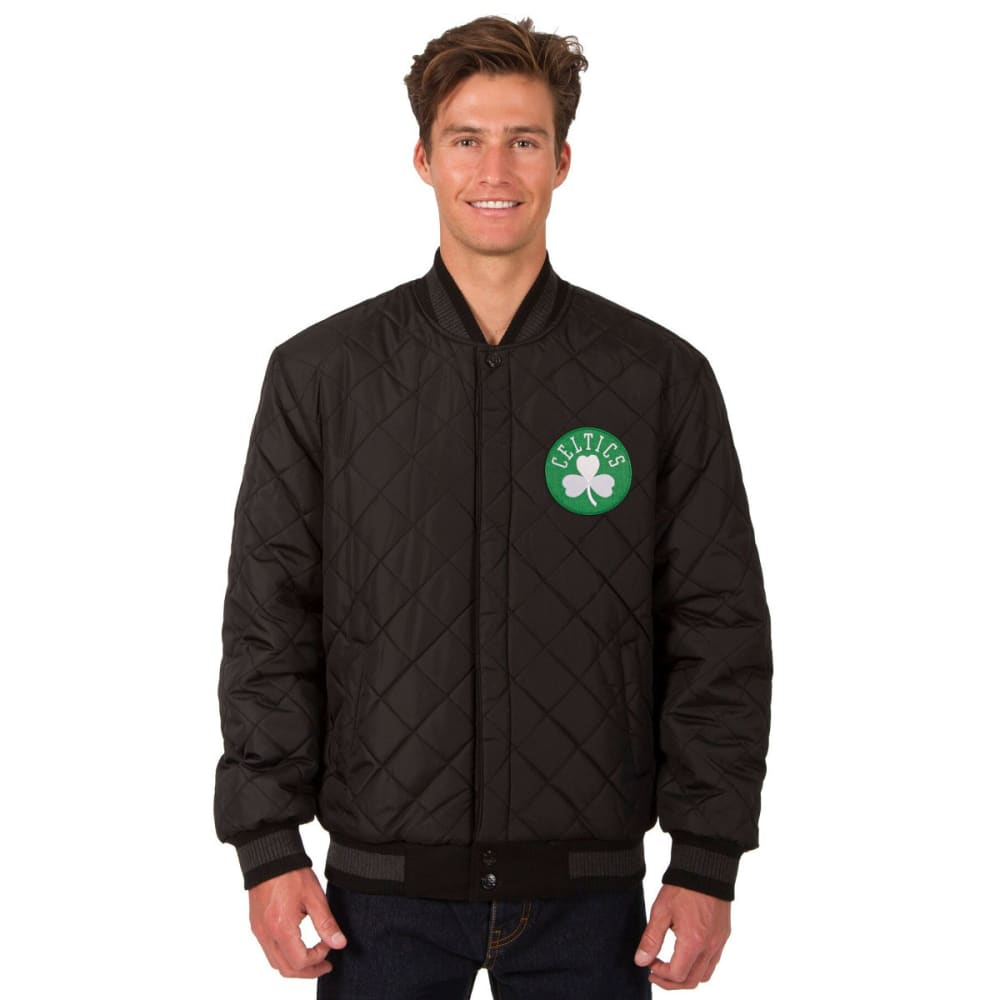 BOSTON CELTICS Men's Reversible Wool and Leather Jacket - BLACK