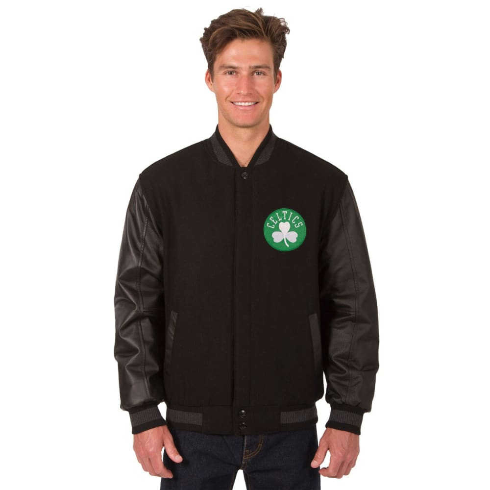 BOSTON CELTICS Men's Reversible Wool and Leather Jacket - BLACK
