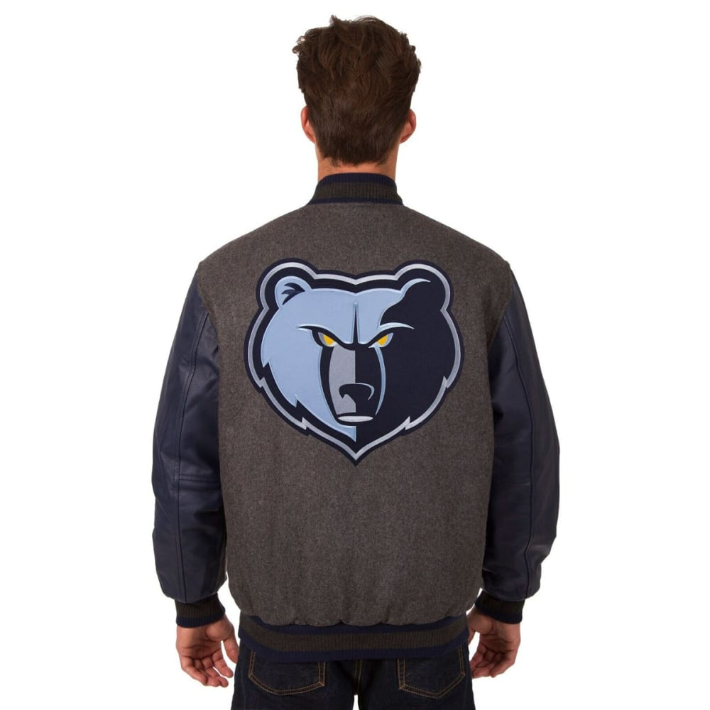 MEMPHIS GRIZZLIES Men's Reversible Wool and Leather Jacket - CHARCOAL-NAVY