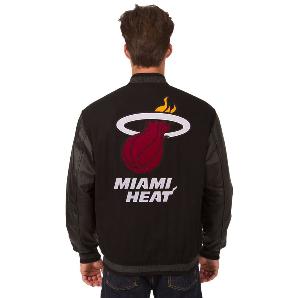 MIAMI HEAT Men's Reversible Wool and Leather Jacket - BLACK
