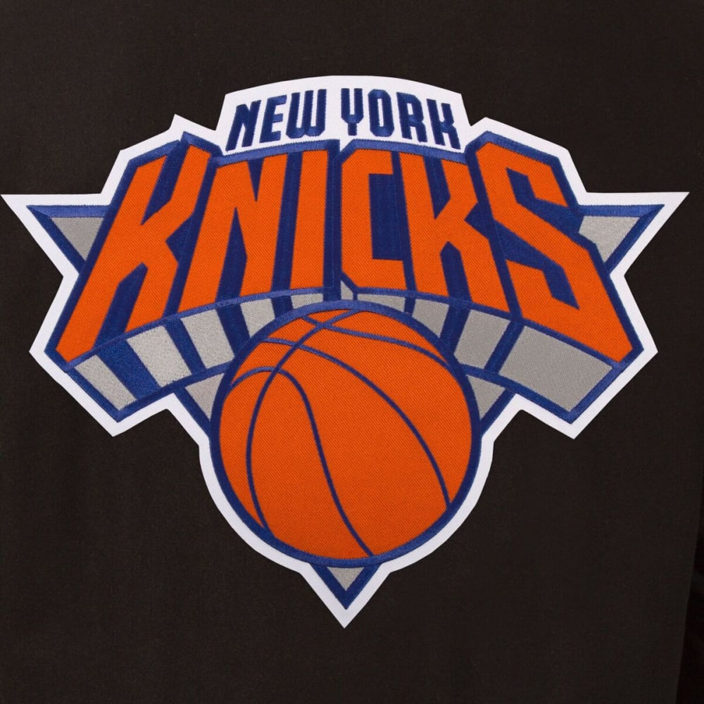 NEW YORK KNICKS Men's Reversible Wool and Leather Jacket - BLACK