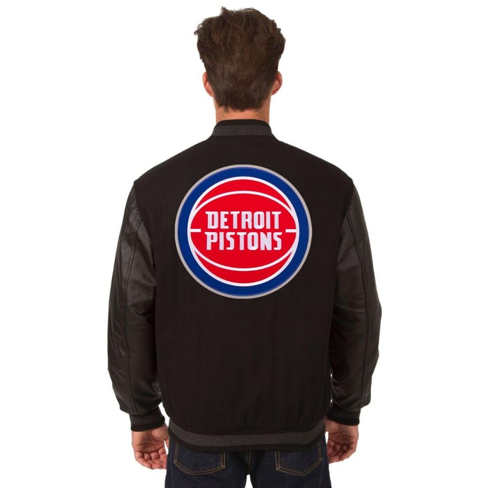 DETROIT PISTONS Men's Reversible Wool and Leather Jacket - BLACK