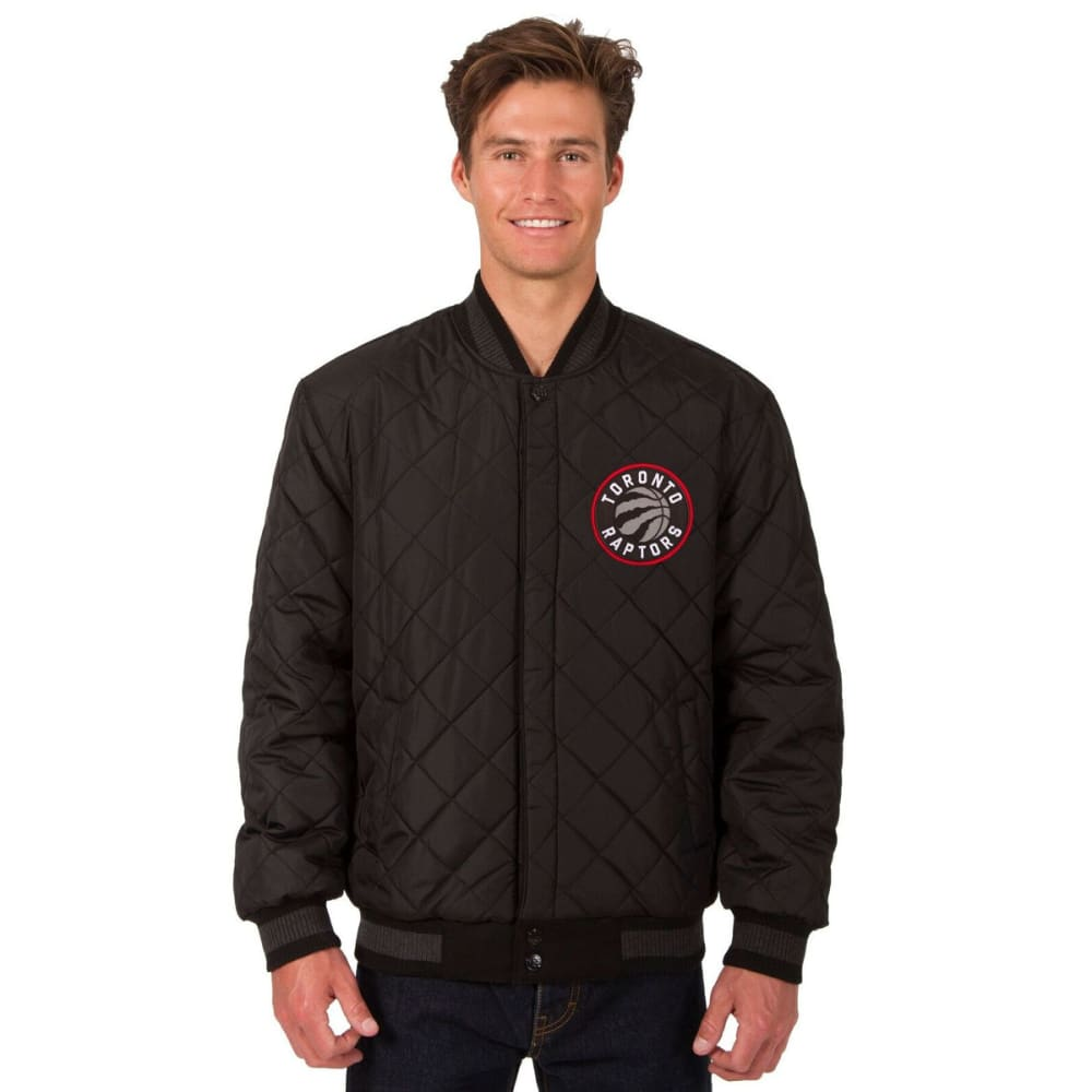 TORONTO RAPTORS Men's Reversible Wool and Leather Jacket - BLACK
