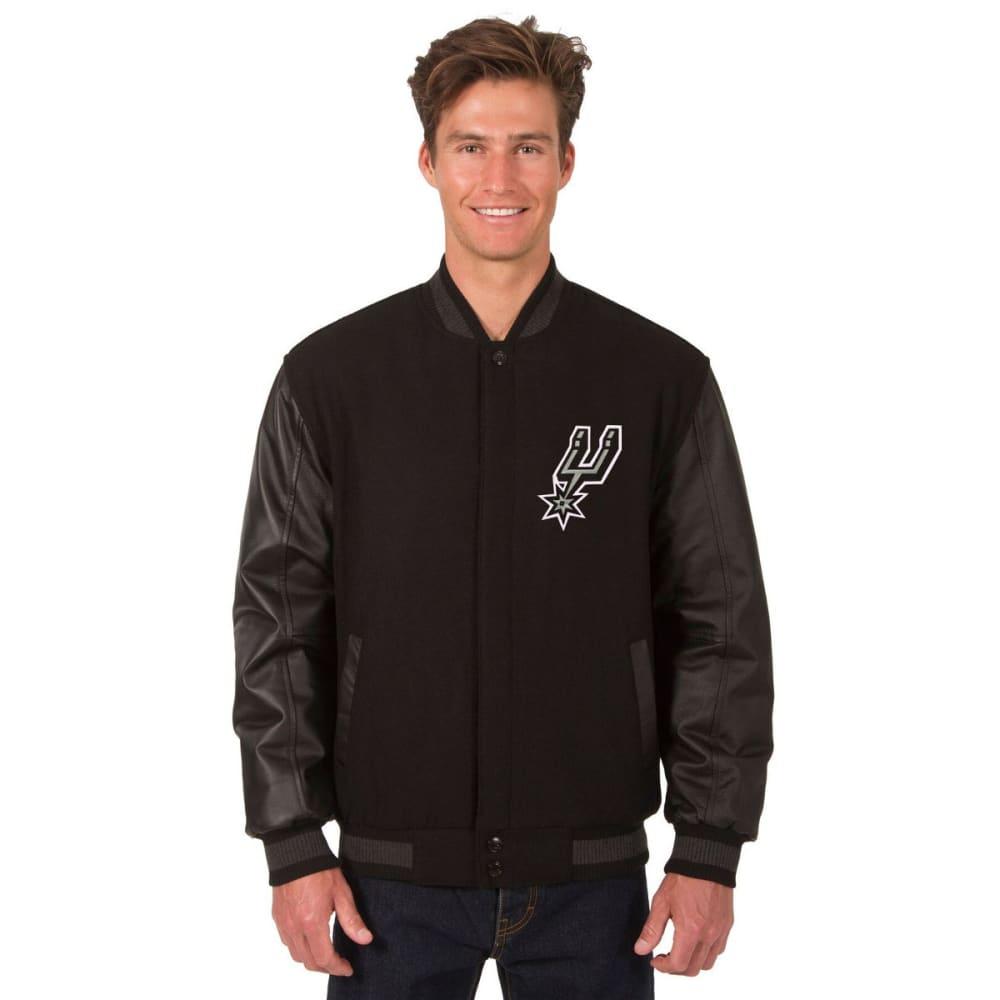 SAN ANTONIO SPURS Men's Reversible Wool and Leather Jacket - BLACK