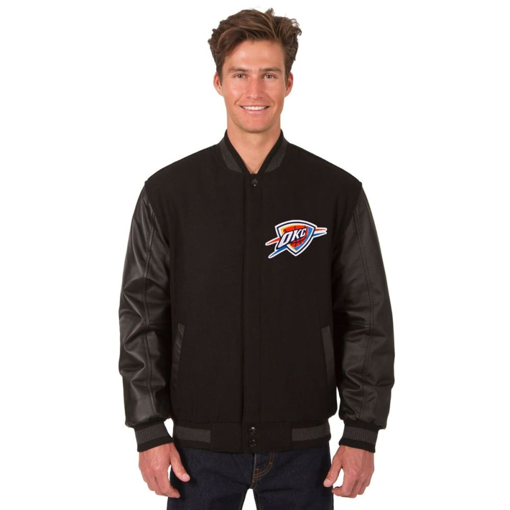 OKLAHOMA CITY THUNDER Men's Reversible Wool and Leather Jacket - BLACK