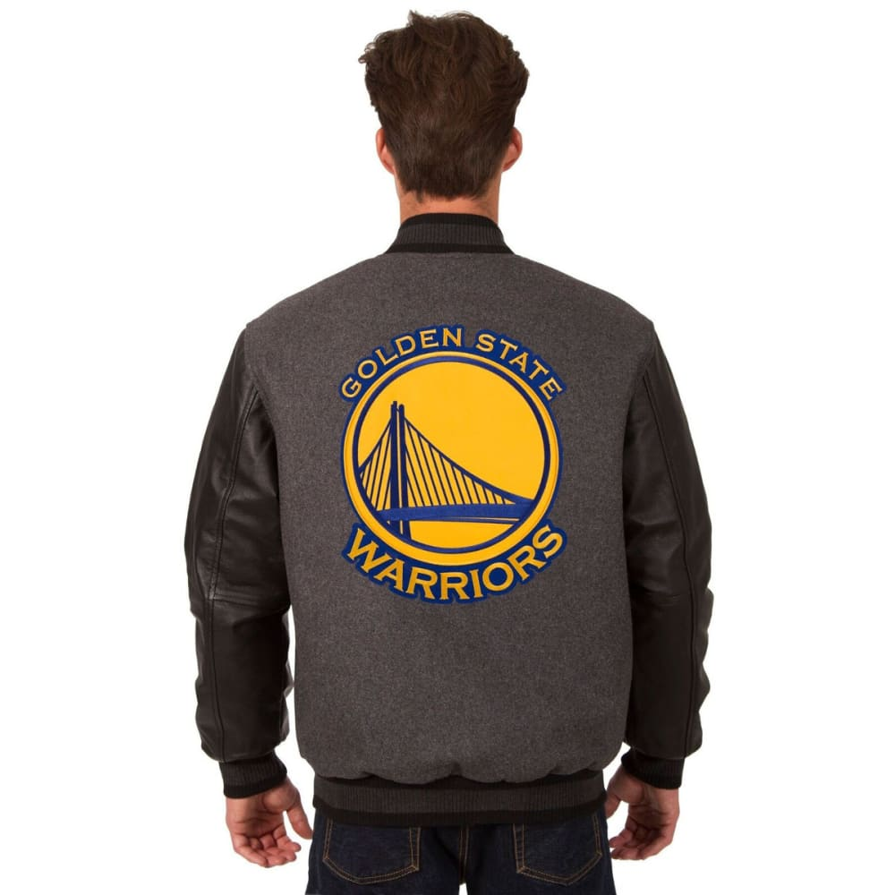 GOLDEN STATE WARRIORS Men's Reversible Wool and Leather Jacket - CHARCOAL-BLACK