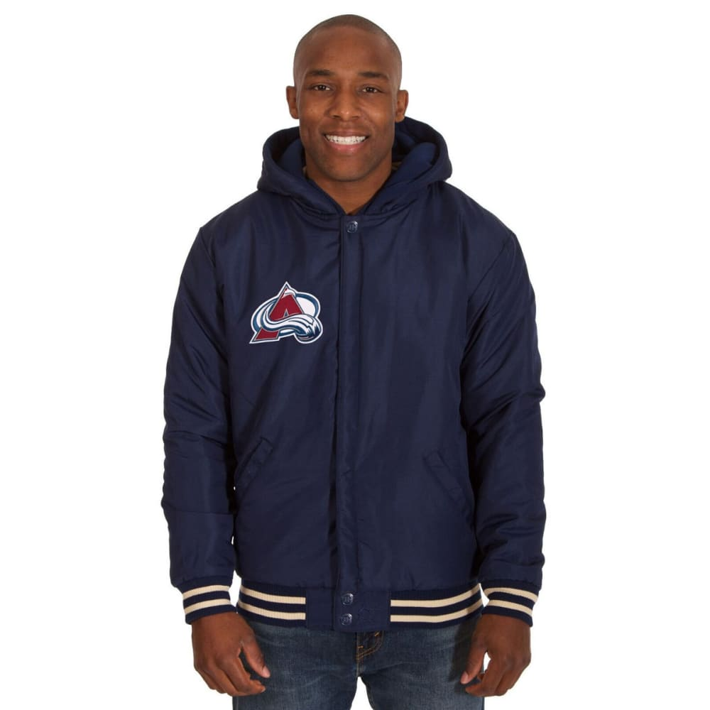COLORADO AVALANCHE Men's Reversible Fleece Hooded Jacket - NAVY-CREAM