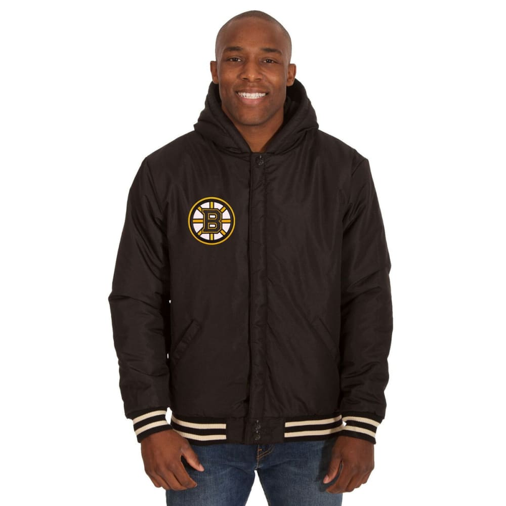 BOSTON BRUINS Men's Reversible Fleece Hooded Jacket - BLACK-CREAM