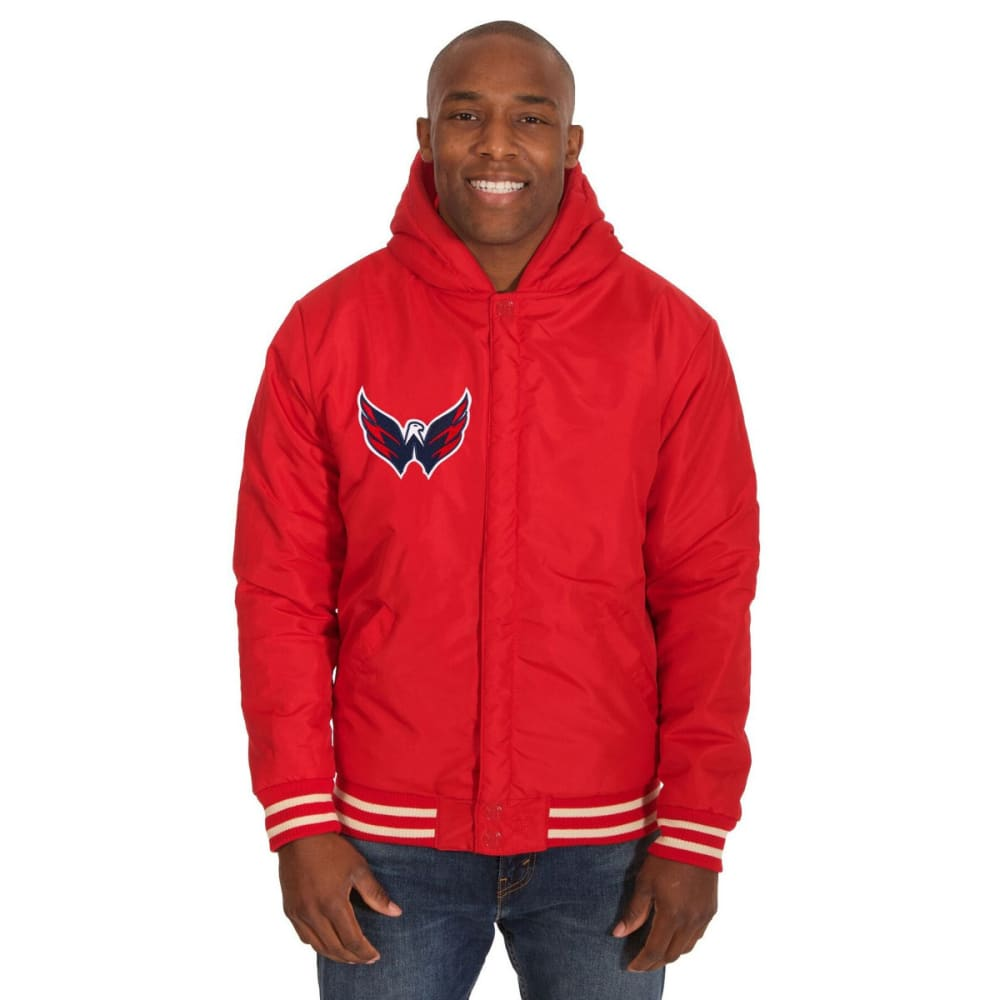 WASHINGTON CAPITALS Men's Reversible Fleece Hooded Jacket - RED-CREAM