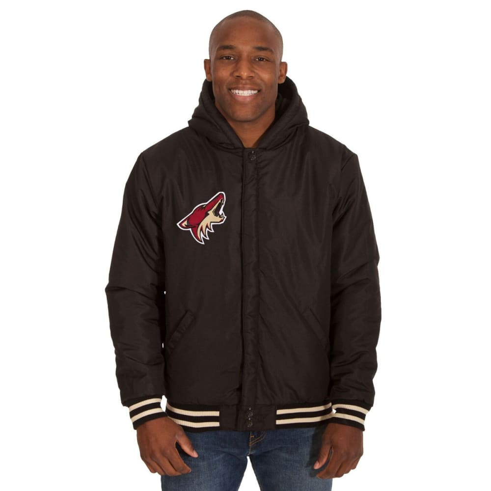 ARIZONA COYOTES Men's Reversible Fleece Hooded Jacket - BLACK-CREAM