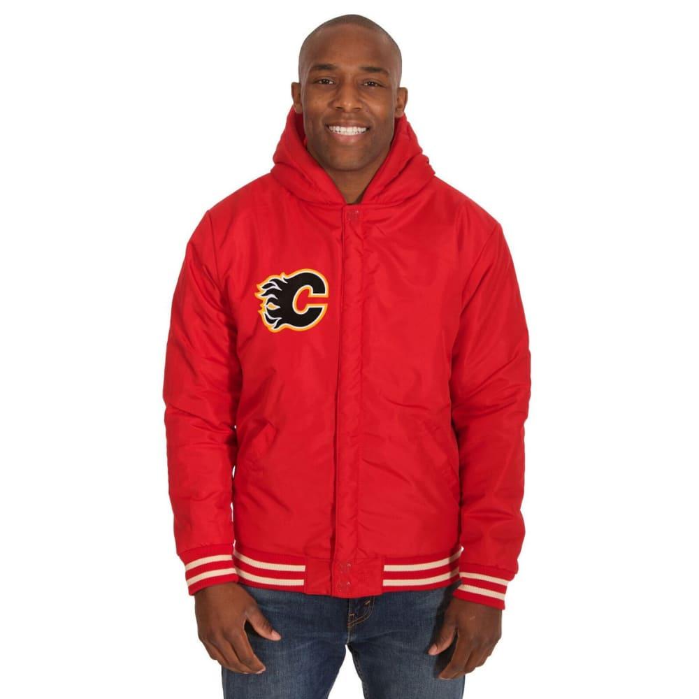 CALGARY FLAMES Men's Reversible Fleece Hooded Jacket - RED-CREAM