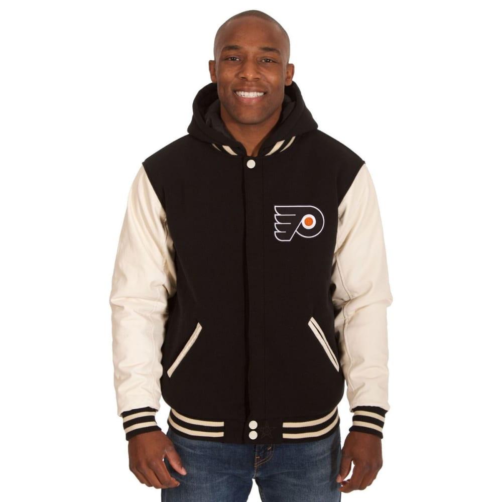 PHILADELPHIA FLYERS Men's Reversible Fleece Hooded Jacket - BLACK-CREAM