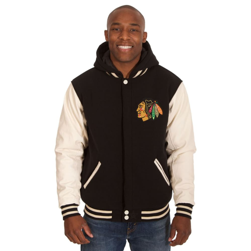 CHICAGO BLACKHAWKS Men's Reversible Fleece Hooded Jacket - BLACK-CREAM