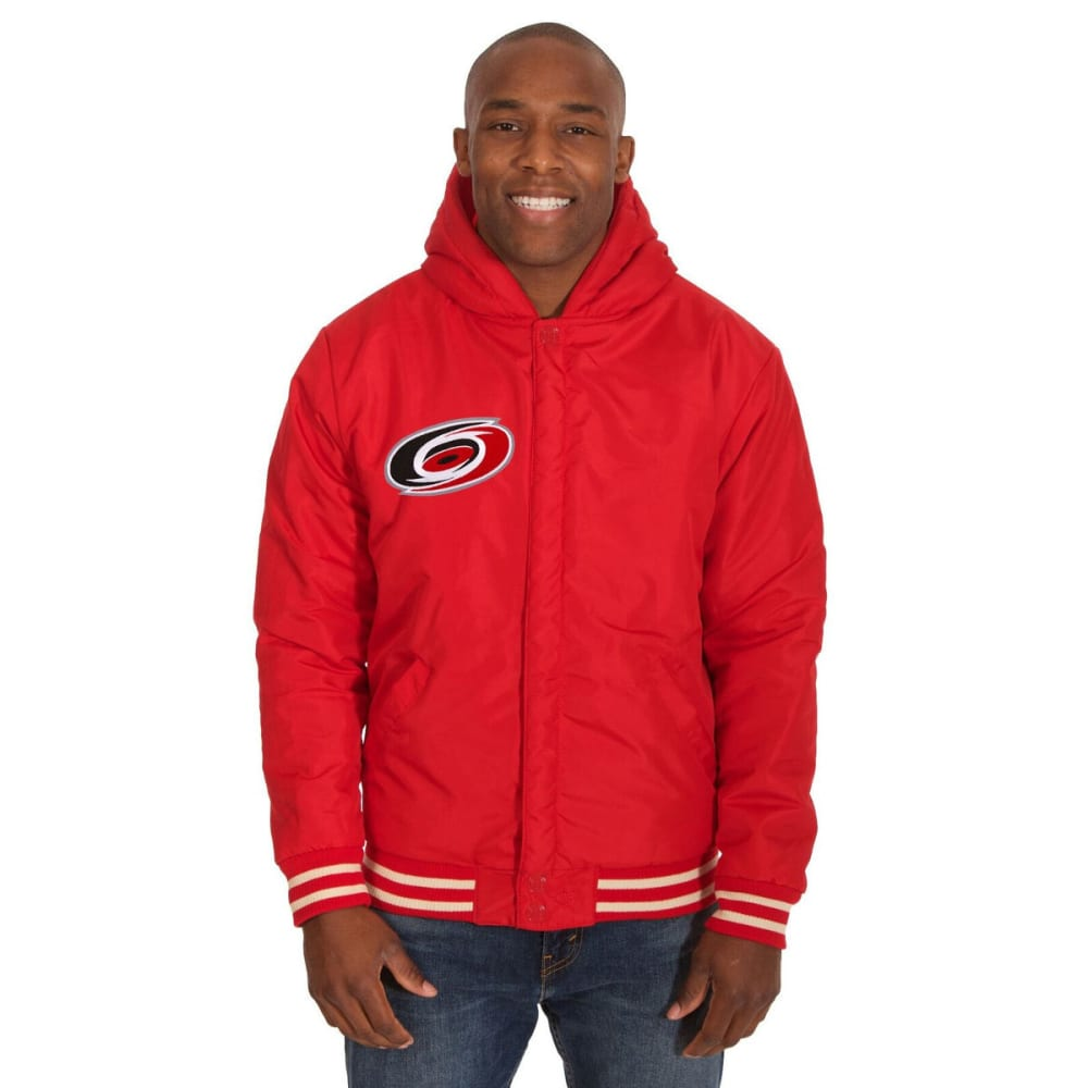 CAROLINA HURRICANES Men's Reversible Fleece Hooded Jacket - RED-CREAM