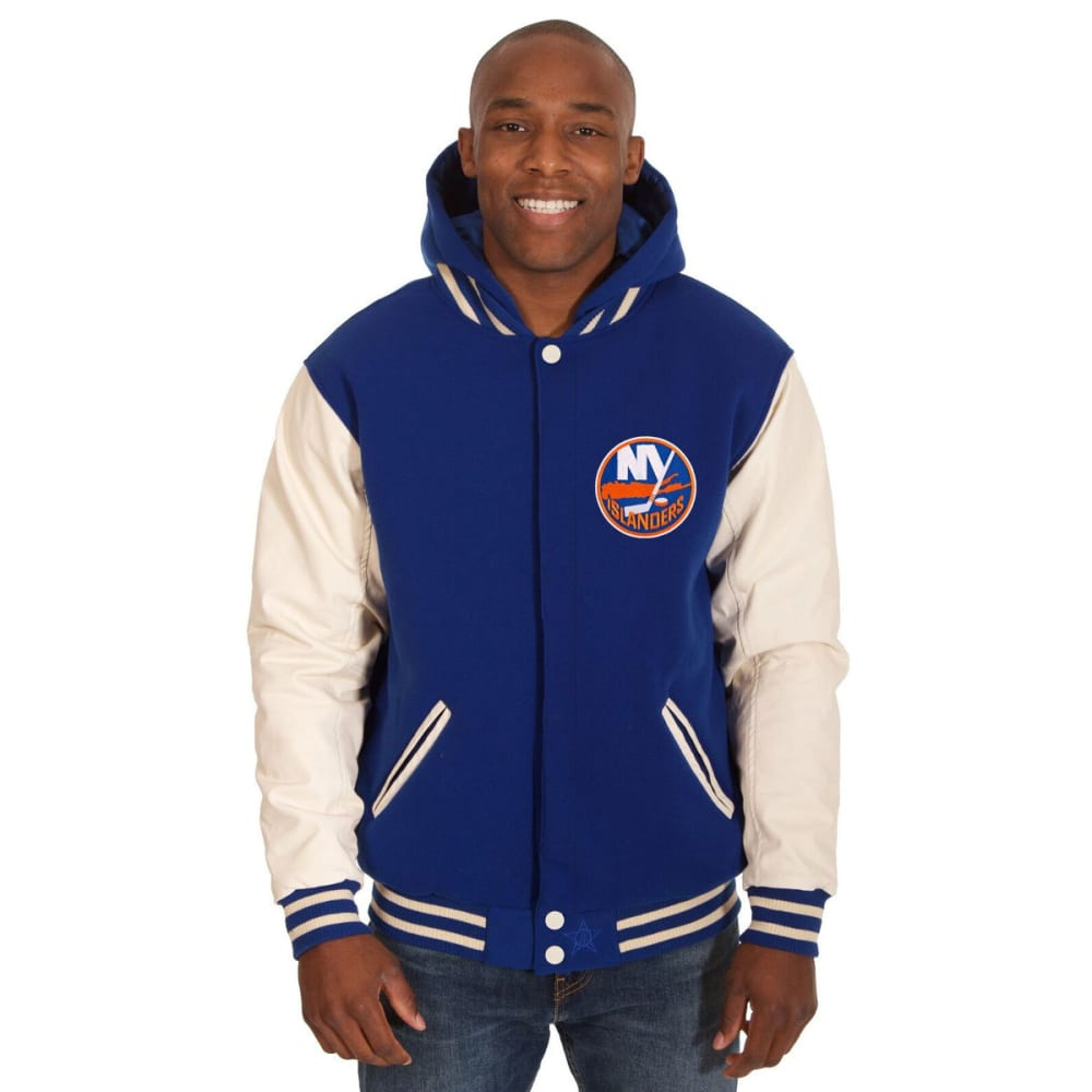 NEW YORK ISLANDERS Men's Reversible Fleece Hooded Jacket - ROYAL-CREAM