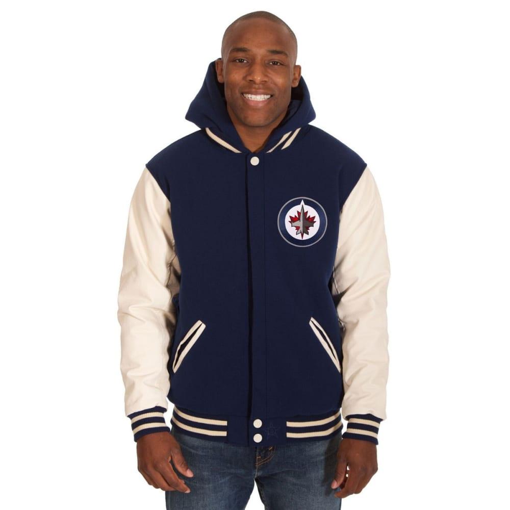 WINNIPEG JETS Men's Reversible Fleece Hooded Jacket - NAVY-CREAM
