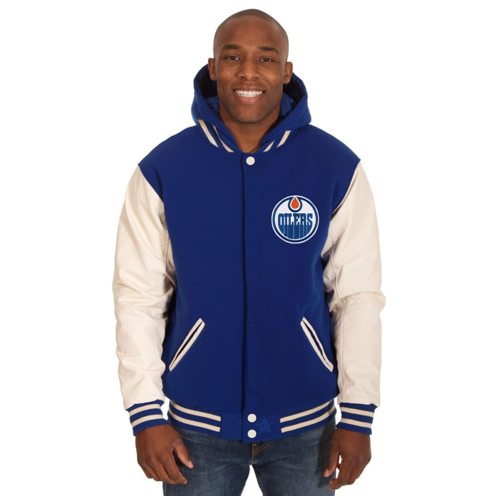 EDMONTON OILERS Men's Reversible Fleece Hooded Jacket - ROYAL-CREAM