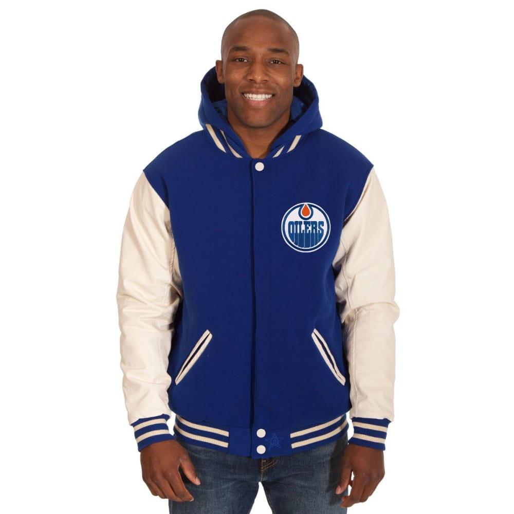 EDMONTON OILERS Men's Reversible Fleece Hooded Jacket - ROYAL-CREAM