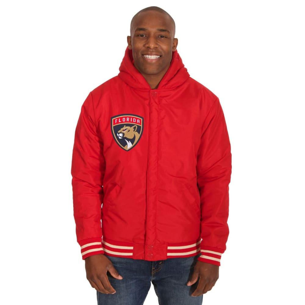 FLORIDA PANTHERS Men's Reversible Fleece Hooded Jacket - RED-CREAM