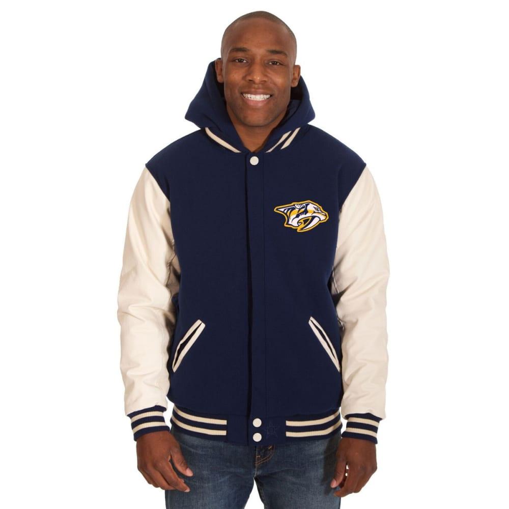 NASHVILLE PREDATORS Men's Reversible Fleece Hooded Jacket - NAVY-CREAM