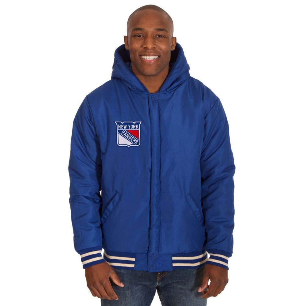 NEW YORK RANGERS Men's Reversible Fleece Hooded Jacket - ROYAL-CREAM