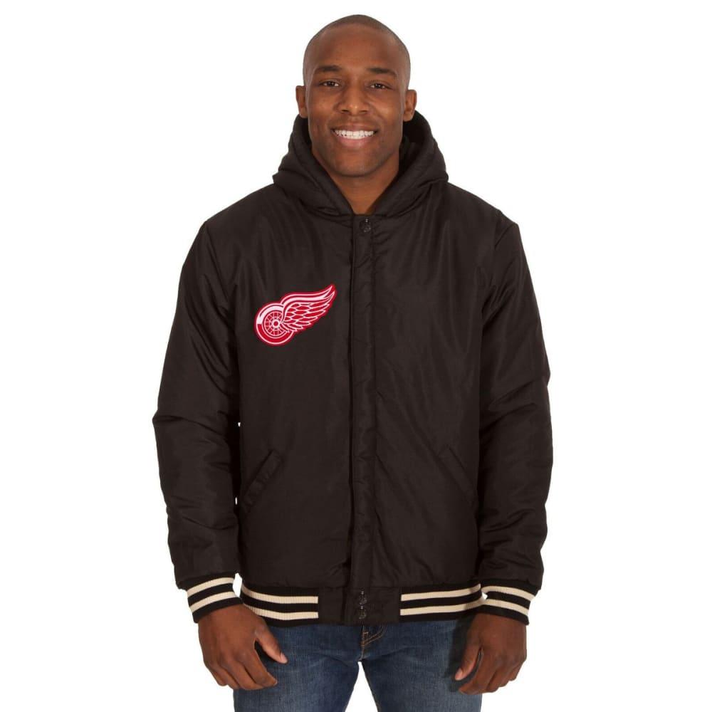 DETROIT RED WINGS Men's Reversible Fleece Hooded Jacket - BLACK-CREAM