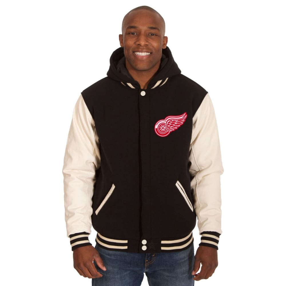 DETROIT RED WINGS Men's Reversible Fleece Hooded Jacket - BLACK-CREAM