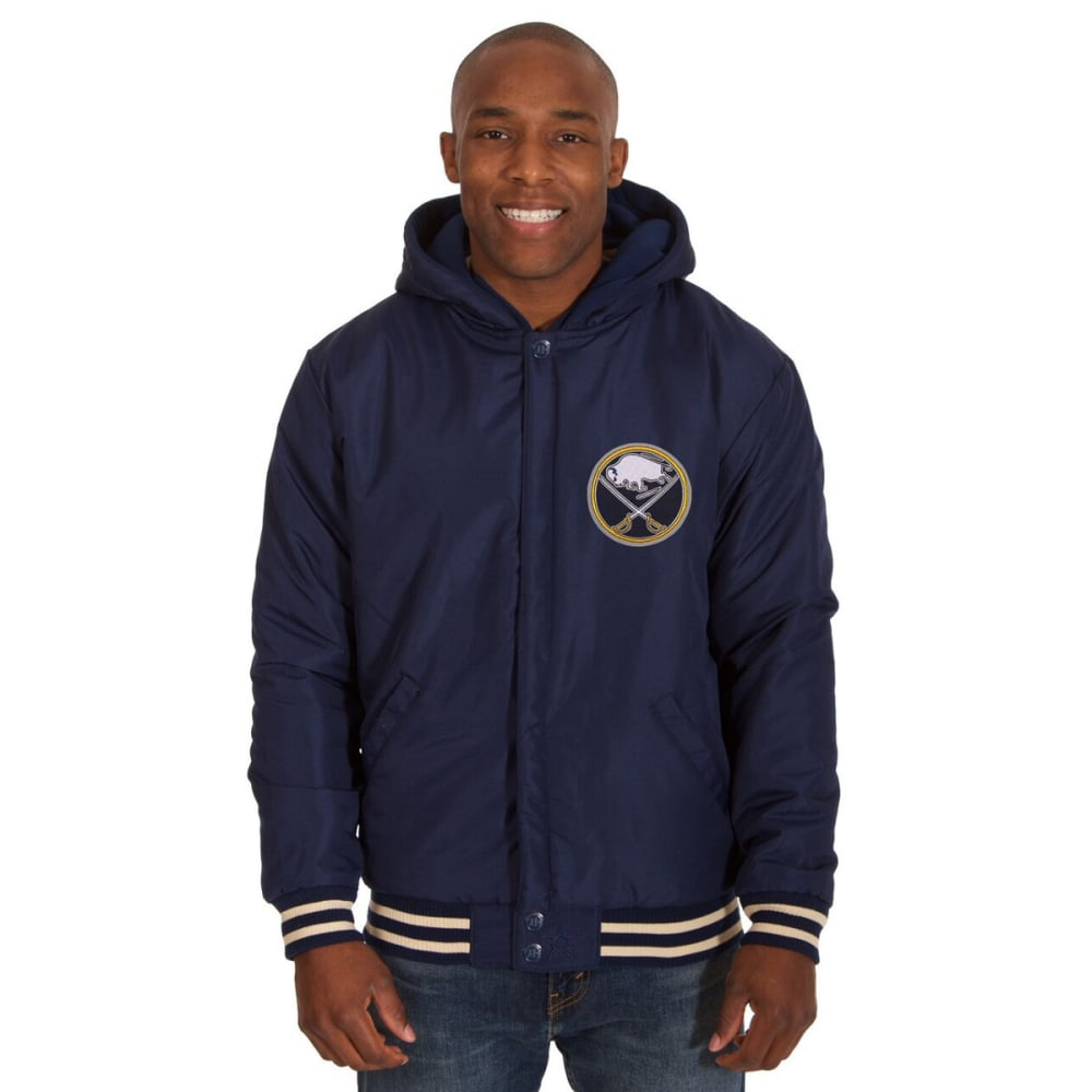 BUFFALO SABRES Men's Reversible Fleece Hooded Jacket - NAVY-CREAM