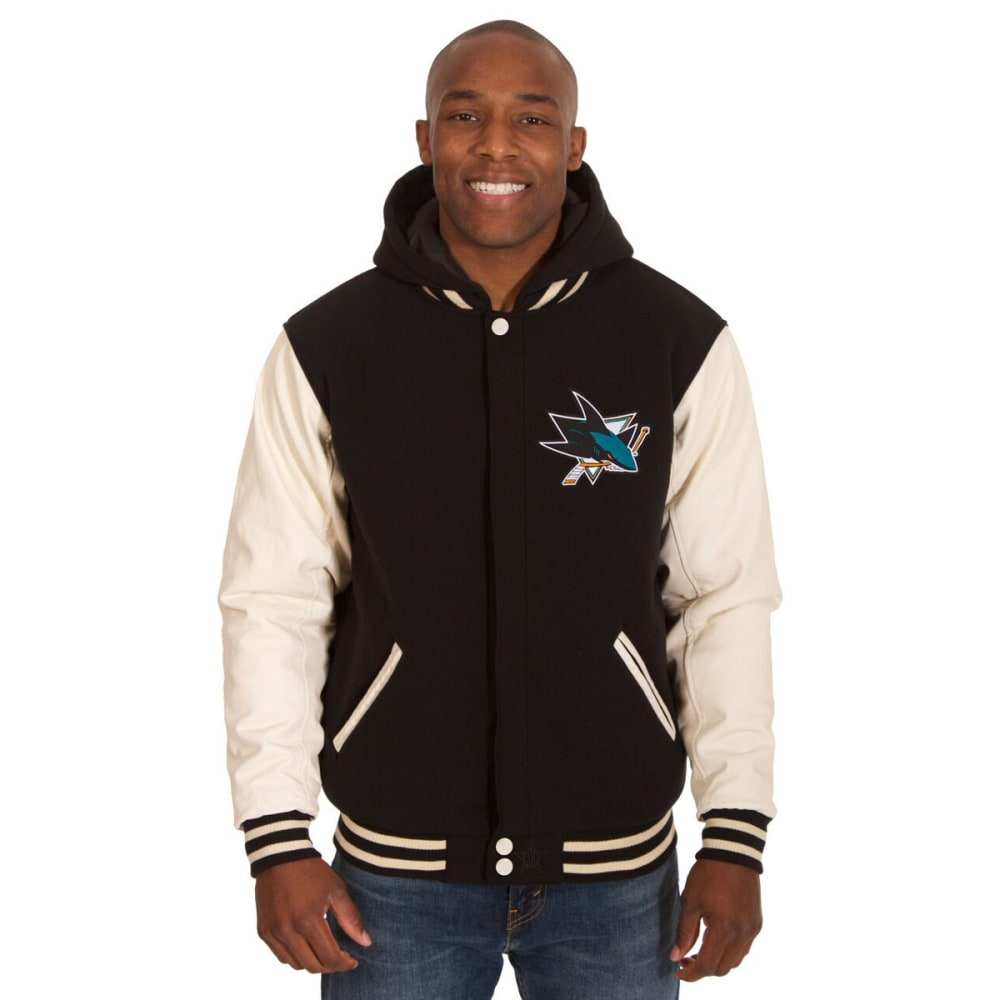 SAN JOSE SHARKS Men's Reversible Fleece Hooded Jacket - BLACK-CREAM