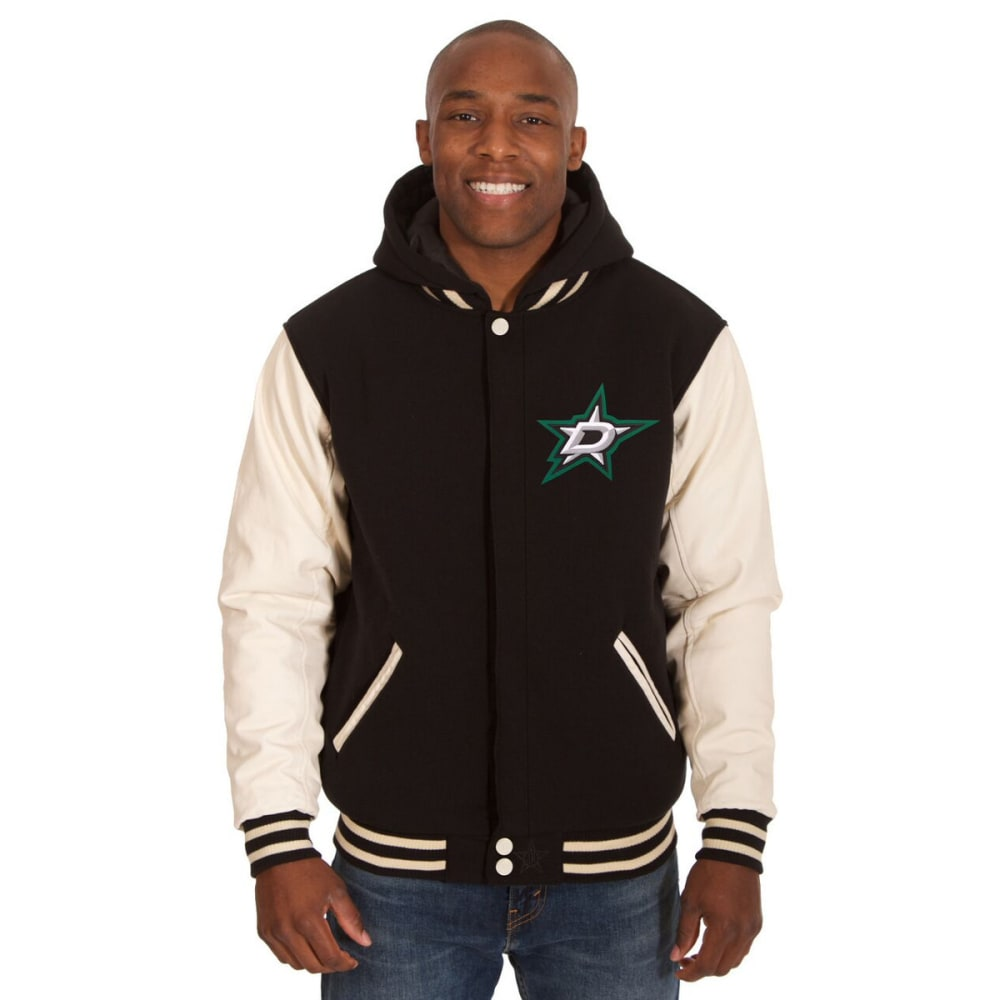 DALLAS STARS Men's Reversible Fleece Hooded Jacket - BLACK-CREAM