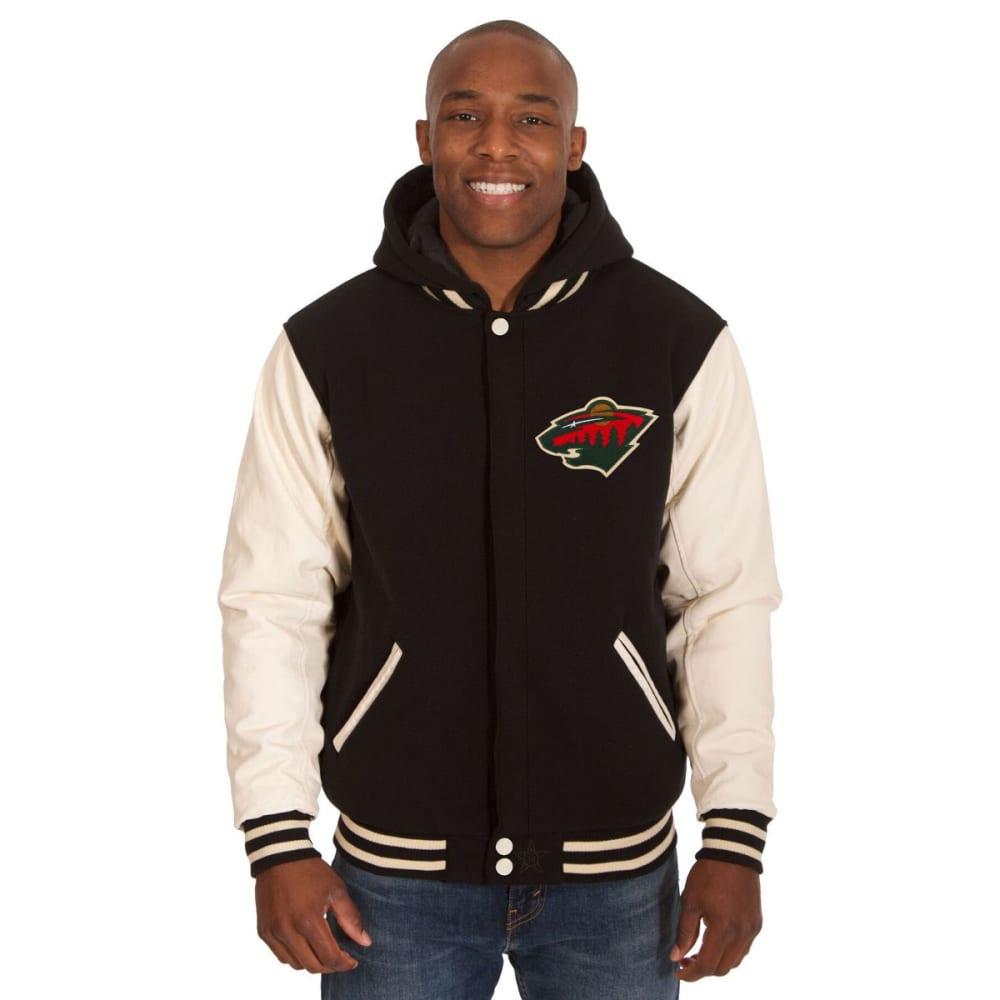 MINNESOTA WILD Men's Reversible Fleece Hooded Jacket - BLACK-CREAM