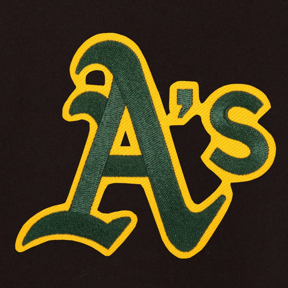 OAKLAND ATHLETICS Men's Reversible Fleece Hooded Jacket - BLACK-CREAM