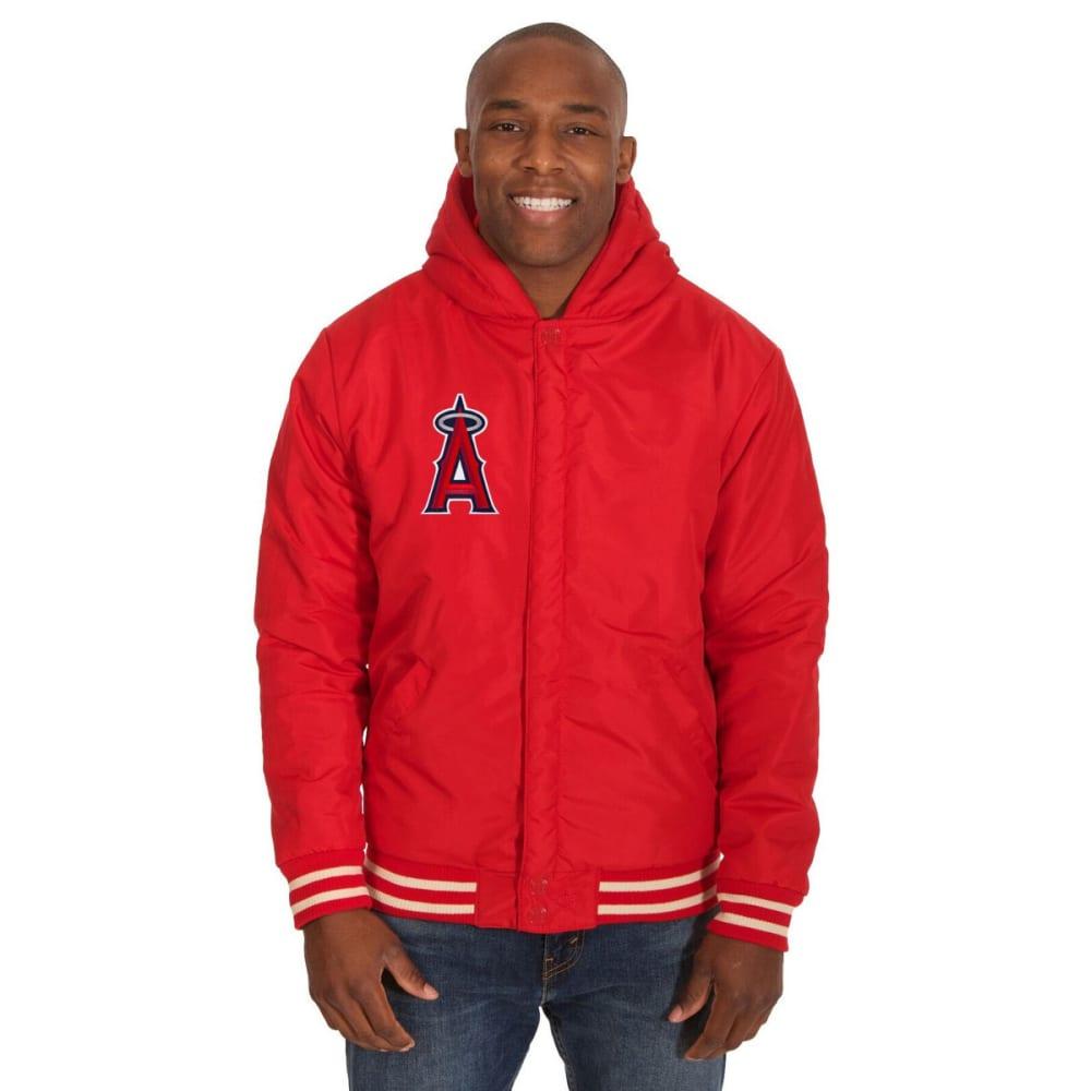 LOS ANGELES ANGELS Men's Reversible Fleece Hooded Jacket - RED-CREAM