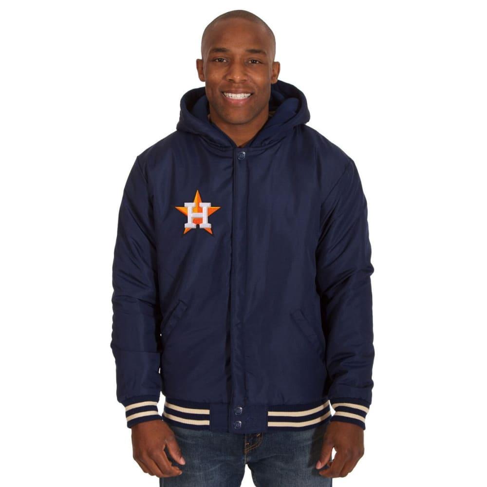 HOUSTON ASTROS Men's Reversible Fleece Hooded Jacket - NAVY-CREAM